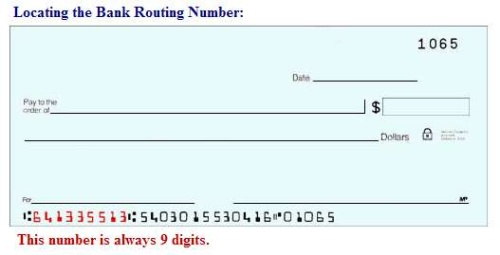 find bank routing number example