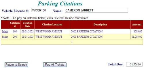View parking citations example screen