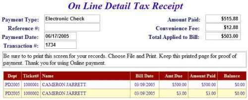 e-check receipt example screen